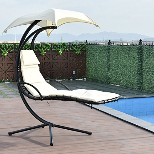 - Giantex Hanging Chaise Lounger Chair Arc Stand Air Porch Swing Hammock Chair with Canopy Umbrella (Beige)