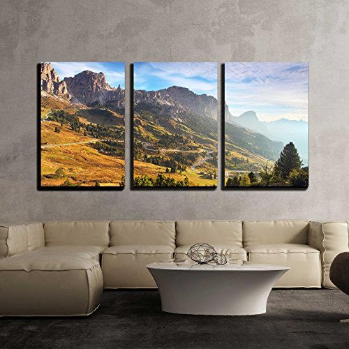 Beautiful Summer Landscape in The Mountains Sunrise Italy Alp Dolomites x3 Panels