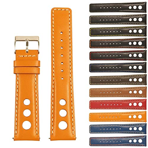 - StrapsCo GT Rally Holes Racing Leather Watch Band - Quick Release Strap - 18mm 20mm 22mm 24mm