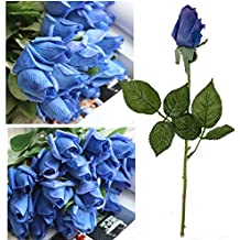 Artificial Garden 20PCS Blue Real Touch Latex Rose Bud Flowers For Home Decor Wedding Bouquet
