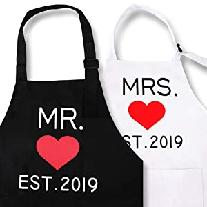 KMCH Mr. and Mrs. Aprons 2019 Couples Kitchen Aprons Funny Cooking Bibs Gifts for Wedding Newlyweds Engagement, Anniversary Bridal Shower Gift His and Hers Sets (Love Heart)