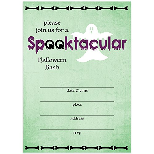 Spooktacular Halloween Bash Invites & Envelopes (Pack of 25) Spooky Ghost Adult Kids Children's Party Fill-In Large Blank 5x7 Fill In Costume Parties Excellent Value Invitations for $<!--$14.99-->