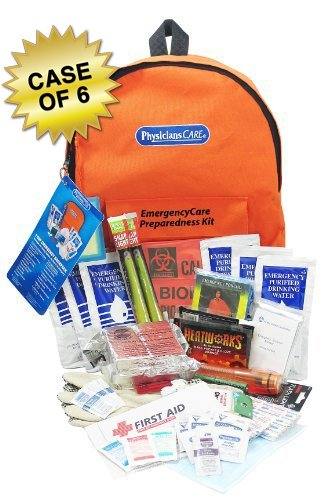 PhysiciansCare Emergency Preparedness First Aid Backpack, Contains 63 Pieces, Case of 6