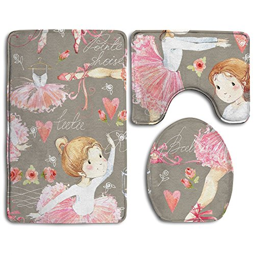 Hexu Ballerina Seamless Pattern With Cute Girl Bathroom Rug 3 Piece Bath Mat Set Contour Rug And Lid Cover