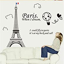 KitMax (TM) Removable Personalized France Paris Eiffel Tower Nursery Bathroom Kitchen Bedroom Dining Living Room Mirror Office Dorm Home DIY Modern Art Wall Decor Stickers