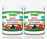 2 Pack Berry Green Superfood Powder with Organic Greens & Organic Fruits, Enzymes, Probiotics, Antioxidants, Vitamins, Minerals - Alkalize & Detox - Non GMO, Vegan & Gluten Free - 240 Grams,22000 ORAC
