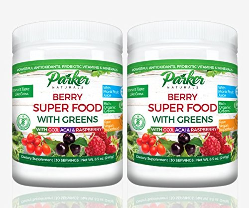 2 Pack Berry Green Superfood Powder with Organic Greens & Organic Fruits, Enzymes, Probiotics, Antioxidants, Vitamins, Minerals - Alkalize & Detox - Non GMO, Vegan & Gluten Free - 240 Grams Green Label Organic Support