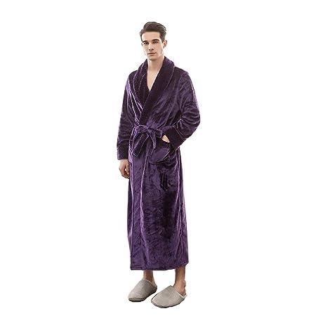 a454ed2bb47d BCL-Pajamas Dressing Gown Men Winter Bathrobe Fluffy Waffle Full Long  Nightwear Fleece Nightgown (Color   PURPLE