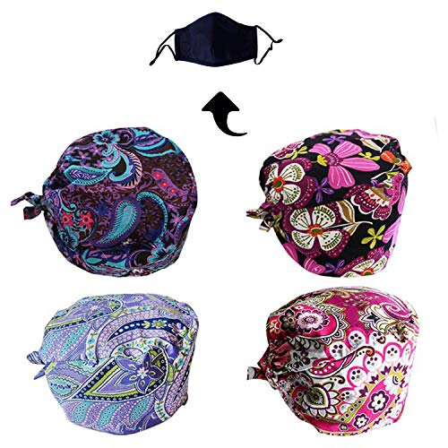 (JoyRing 4 Pack Unisex Adjustable Surgical Hat Scrub Cap with Sweatband for Ponytail and Free Reusable Cotton Mask, One Size Fit Most)