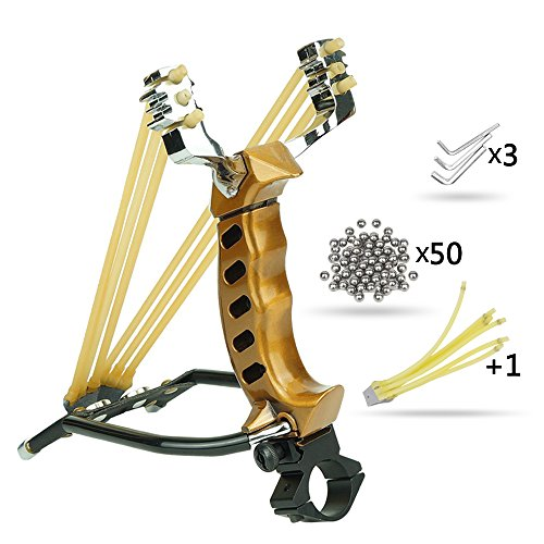 BESTEK Outdoor Athletics Slingshot Kit Wisdoman, Adjustable Stainless Professional Hunting Catapult High Powerful Slingshots Rubber Bands and 50 Steel Balls (Gold2)