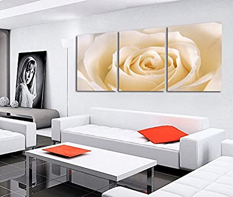 2017 Painting 3 Piece Romantic Canvas White Rose flower Large Wall Art Pictures Living Room Print Canvas HD - Nba Jazz Lamp