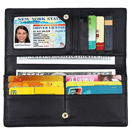 Lavemi RFID Blocking Ultra Slim Real Leather Credit Card Holder Clutch Wallets for Women(Black1) ()