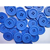 Lyracces Wholesale Lots 100pcs 18color Pick 25mm Flatback Resin Sewing Clothes Fasteners Buttons (Blue)
