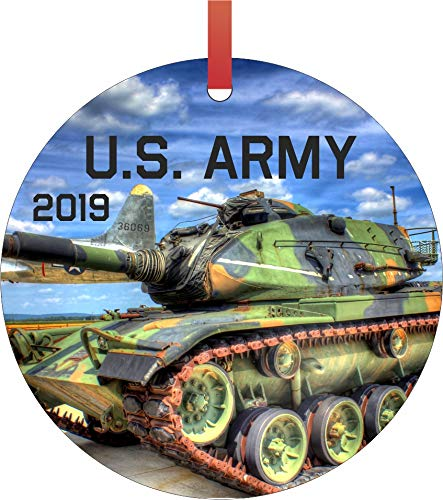 Rosie Parker Inc. U.S. Army 2019 Double Sided Flat Round Shaped Ornament Xmas Tree Christmas Décor - Christmas Room Décor and Ornament Yard Decorations