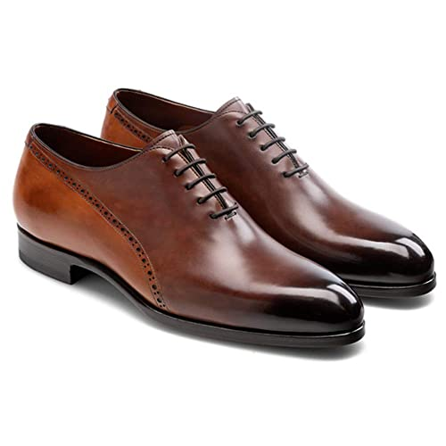 medium brown Leather Formal casual Brogue Shoes Made in Italia