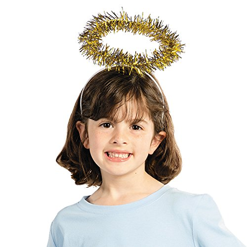 Fun Express - Gold Tinsel Halo Headband for Christmas - Apparel Accessories - Hats - Head Boppers - Christmas - 12 Pieces ()