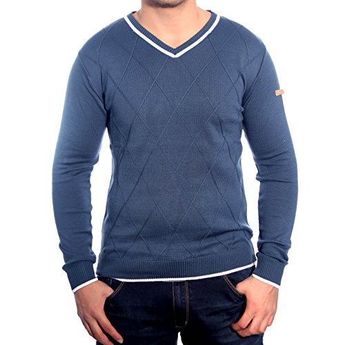 R-Neal RN-3151 Herren Pullover V-Neck Kontrast Pulli Sweatshirt Jacke Hoodie Neu, Größe:M, Farbe:Petrol