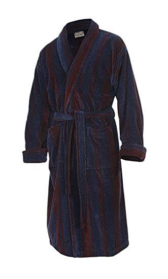 Bown Of London Mens Luxury Velour Dressing Gown The Arbroath Navy