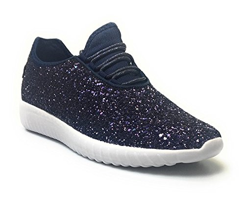 Forever Link Women's Remy-18 Glitter Sneakers | Fashion Sneakers | Sparkly Shoes for Women | Navy 5