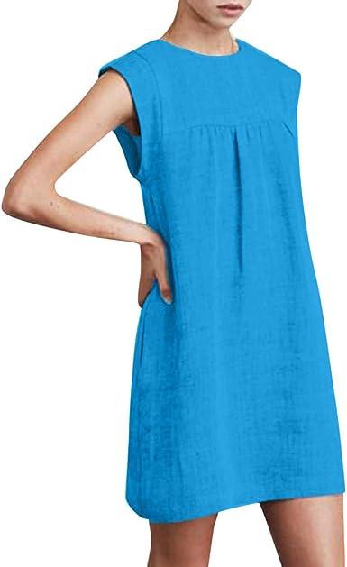 VEMOW Faldas Mujer Vestido sin Mangas de Lino de algodón sin Mangas de Verano Vestido Playero de Playa: Amazon.es: Ropa y accesorios