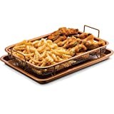 Gourmia GCT9960 Oven Crisper Tray - Uses Hot Air to Crisp and Fry Food Without Oil or Unhealthy Fats - Carbon Steel Pan, Non Stick Stainless Steel Grill Basket - Dishwasher Safe