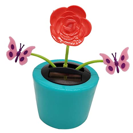 52944d1c1 Buy Anbau Solar Powered Flower Plant Shaking Doll Flip Flap Toy Home Decor  Car Ornament Flowerpot - Rose and Butterfly Online at Low Prices in India  ...