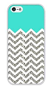 Chevron Pattern Turquoise Grey White Case - Apple iPhone 5 Case - iPhone 5s Case - Hard Plastic Case