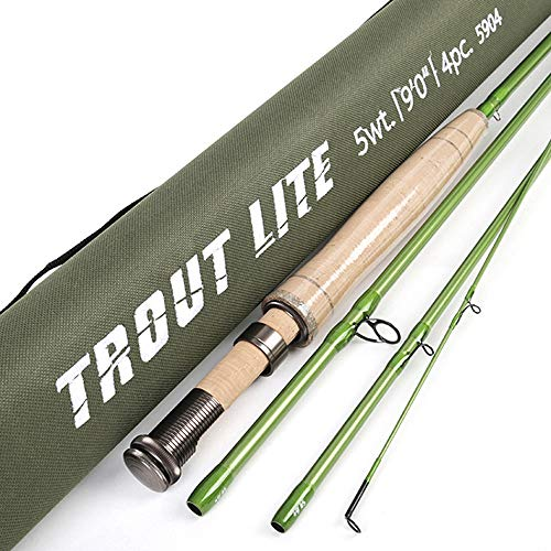 (Fly Fishing 4 Sections with Cloth Barrels of Carbon Fishing Rods Soft Wood Straight Handle 3wt/7'6