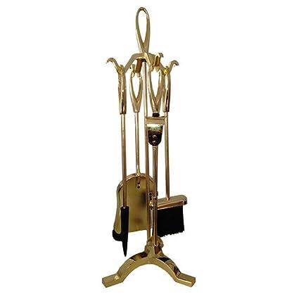 Juego de 4 utensilios para chimenea Accesorios de chimenea H63 cm fuego 095002 Estufa de leña