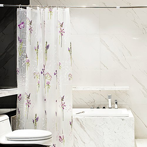 KingLeChange PEVA Shower Curtain Liner with Magnets Waterproof Bath Curtain Liner Includes 12 Hooks, 72x72 inch - Butterfly Floral - Plastic Curtain Transparent