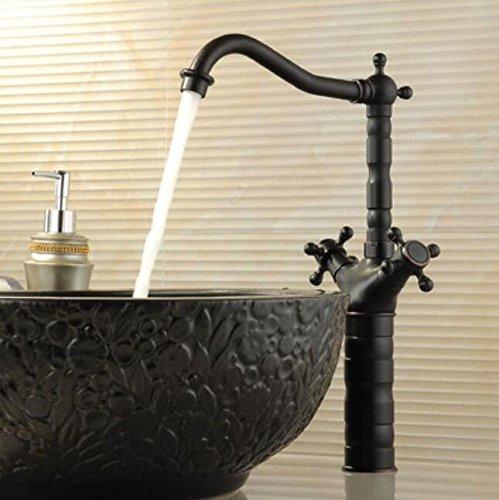 Decorry Alle Kupfer Schwarz Bronze Antik Wasserhahn warmes und kaltes Wasser Waschbecken Waschbecken Wasserhahn rotierende Keramikscheibe Schieber