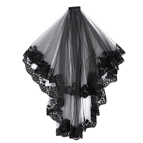 Lace Wedding Veil Bride Cathedral Cosplay Party Costume Headwear with Comb]()