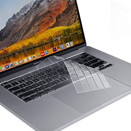 MOSISO Premium Ultra Thin TPU Keyboard Cover Compatible with 2020 MacBook Pro 13 inch A2251 A2289 & 2019 MacBook Pro 16 inch A2141 with Touch ID & Retina Display, Soft Skin Protector, Transparent