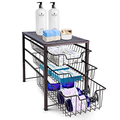 Simple Trending 3-Tier Under Sink Cabinet Organizer with Sliding Storage Drawer, Desktop Organizer for Kitchen Bathroom…