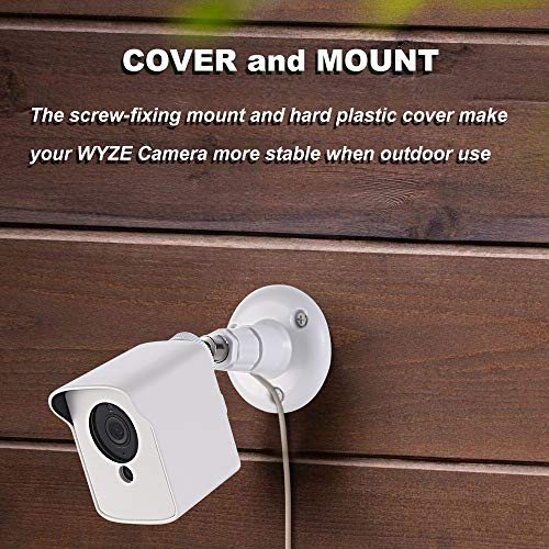 Gresur for Wall Mount Wyze Cam V2, 360 Degree Adjustable Wall Mount with Weather Proof Protective Housing for Indoor Outdoor Use (White, 3 Pack)