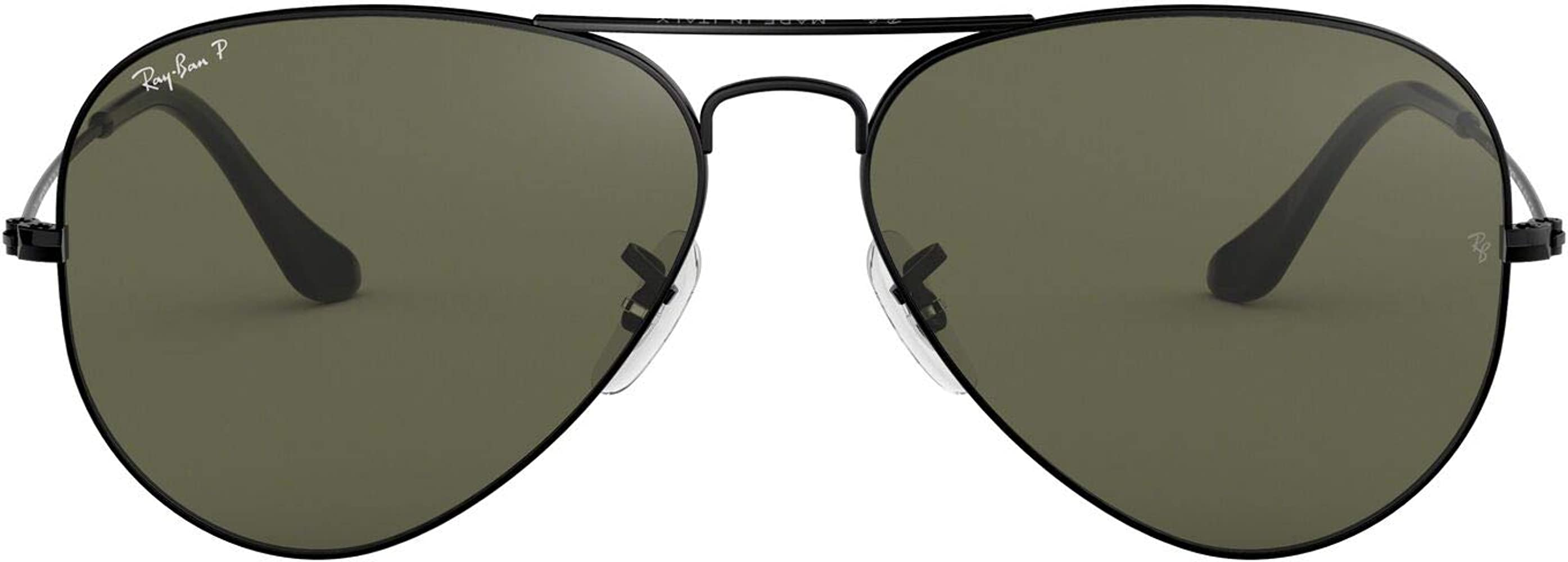 Ray-Ban Aviator Gafas de sol, Black, 55 para Hombre: Amazon ...
