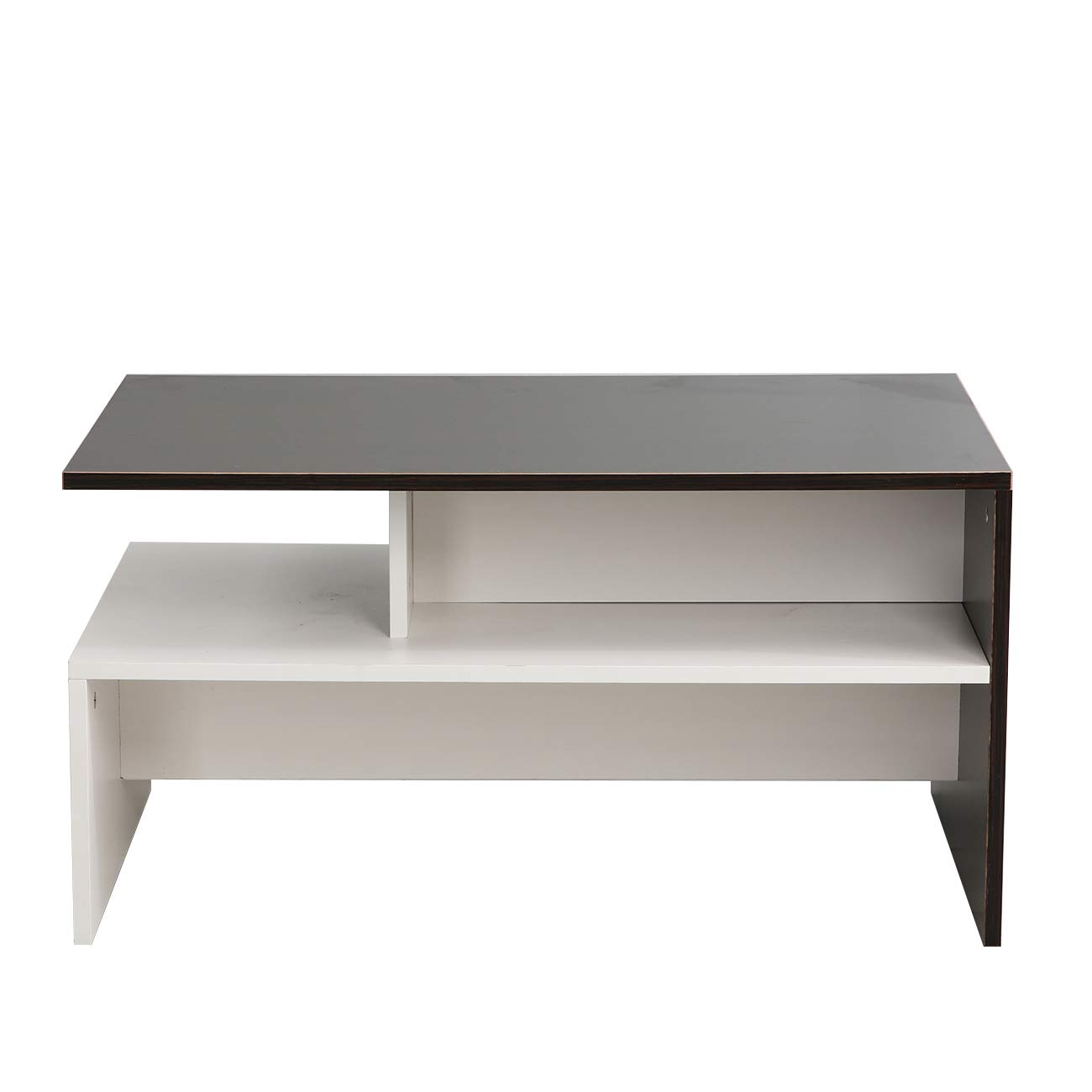 Compact Sofa Side Table Living Room Home Office Furniture sogesfurniture Rectangle Coffee Table with Shelf for Ample Storage 80x50x42cm BHEU-DX-BC04WB