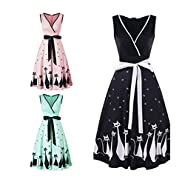 Manxivoo Retro Cat Print Surplice Dress, Sleeveless Deep V Vintage Tea Dress with Bowknot 50s Style Swing Evening Party Dress