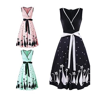 Manxivoo Retro Cat Print Surplice Dress, Sleeveless Deep V Vintage Tea Dress with Bowknot 50s Style Swing Evening Party Dress