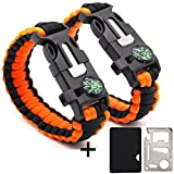 Rescue Survival Knife - GOGOLUCK 2 Pack Emergency Tactical Survival Paracord Bracelets Survival Gear with Multi Tool Compass Fire Starter Emergency Knife Whistle Rescue Rope Orange + Survival Pocket Tool