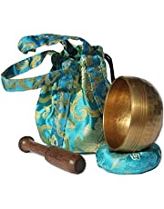 Andos Tibetan Singing Bowl Set Handcrafted in Nepal/Meditation Sound Bowl Set Golden Helpful for Yoga Meditation Prayer Zen Chakra Healing Relaxation Mindfulness/Yoga Accessories/Bonus Gift Included