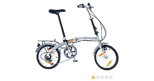 Bicicleta plegable/bicicleta plegable para Compass 16 pulgadas, aluminio, 6 velocidades Shimano, plata: Amazon.es: Deportes y aire libre