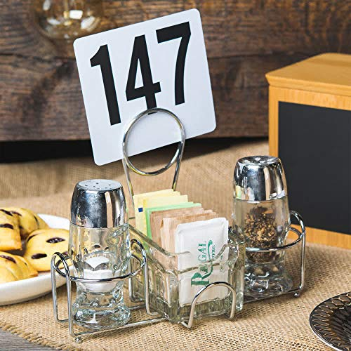 GET Enterprises Chrome Metal Two Compartment Condiment Caddy Metal Table Caddies Collection 422735