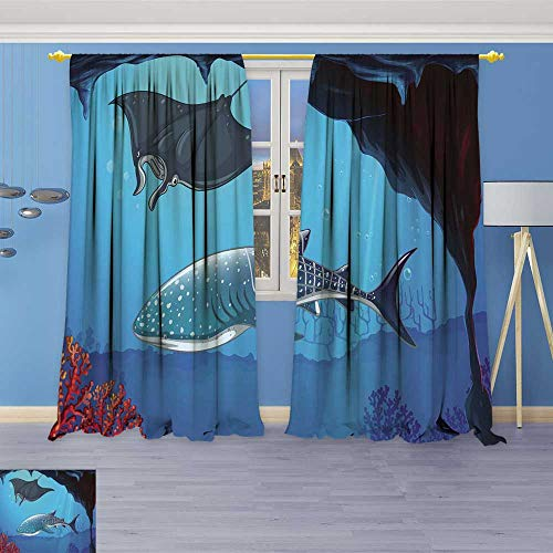 (Leigh-home Blackout Window Curtain Shark and Stingray Swimming Underwater Customized Curtains 72W x 72L Inch)