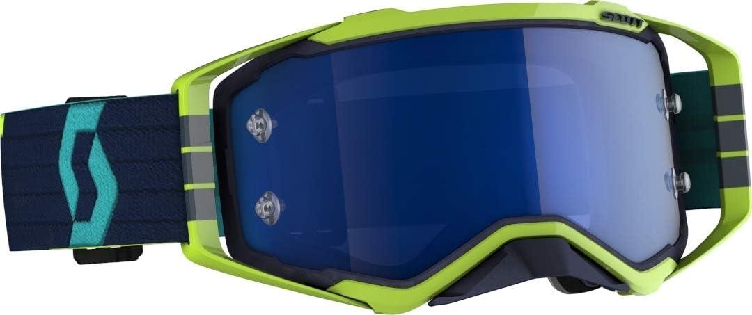 Scott Prospect Mx Goggle Cross Mtb Brille Blau Gelb Electric Blau Chrom Works Sport Freizeit
