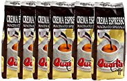 Quarta CAFFE' ESPRESSO. Ground coffee. Sweet and intense aroma. 250g x 6 packs. Fine blend of coffee processed in Salento, A