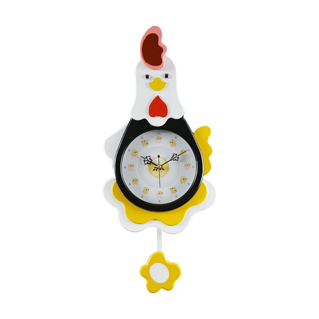 LINGZHIGAN Mode Kreative Hahn Wanduhr 20 Zoll Pendel Einfache Kinderzimmer Stille Küken Form Persönlichkeit Cartoon Schaukel Uhr (Farbe : Black)