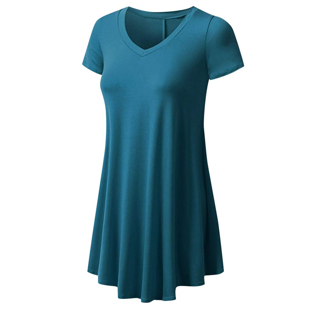 Meikosks Ladies Flowy Tops V Neck Short Sleeve T Shirt Solid Color Blouses Basic Pullover Blue