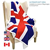 "Sherpa Fleece Blanket,UK England National Flag Print Patriotic Plush Super Soft Warm Reversible Polar Throws for Couch Bed by Catalonia 60"" x 50"""