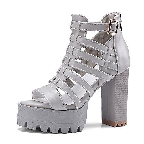 esterno sandali Gray Peep nero bianco ZHZNVX grigio donna Comfort per blocco similpelle estivo tacco Scarpe toe ZXqUP